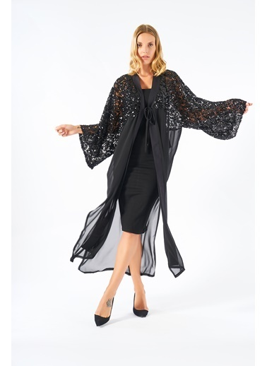 Women&Women Şık Payet İşlemeli Siyah Kimono Siyah